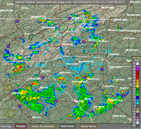 Radar Image for Severe Thunderstorms near Lake Secession, SC at 7/25/2020 5:13 PM EDT