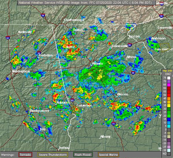 Radar Image for Severe Thunderstorms near Talbotton, GA at 7/25/2020 6:12 PM EDT