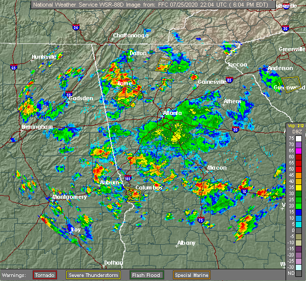 Radar Image for Severe Thunderstorms near Adairsville, GA at 7/25/2020 6:12 PM EDT
