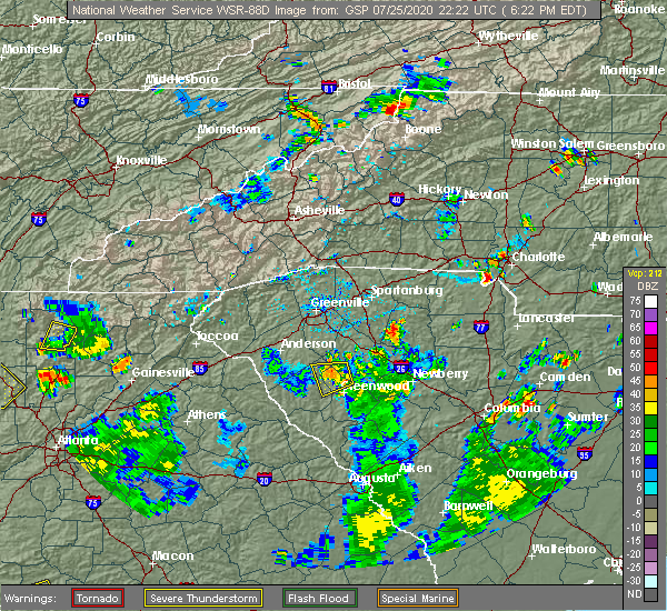 Radar Image for Severe Thunderstorms near Charlotte, NC at 7/25/2020 6:30 PM EDT