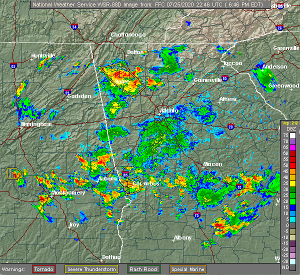Radar Image for Severe Thunderstorms near Adairsville, GA at 7/25/2020 6:57 PM EDT