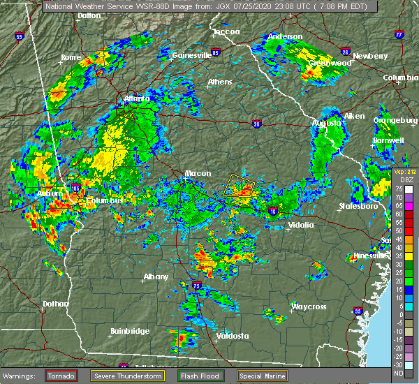 Radar Image for Severe Thunderstorms near Toomsboro, GA at 7/25/2020 7:14 PM EDT