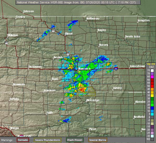 Radar Image for Severe Thunderstorms near Bullhead, SD at 7/25/2020 6:21 PM MDT