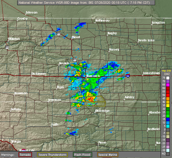 Radar Image for Severe Thunderstorms near Fort Yates, ND at 7/25/2020 7:28 PM CDT