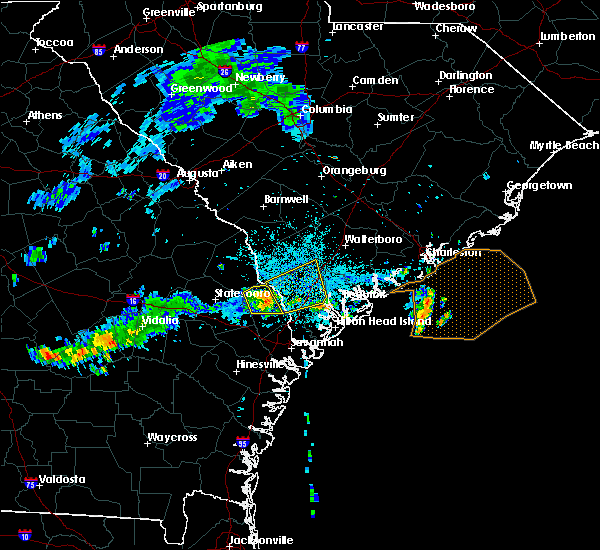 Radar Image for Severe Thunderstorms near Yemassee, SC at 7/1/2015 11:21 PM EDT