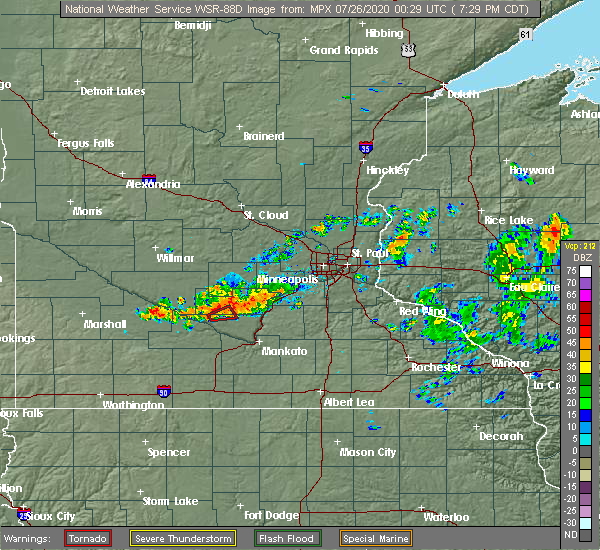 Radar Image for Severe Thunderstorms near Lafayette, MN at 7/25/2020 7:35 PM CDT