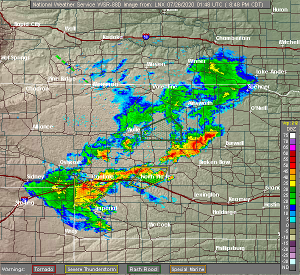 Radar Image for Severe Thunderstorms near Sarben, NE at 7/25/2020 7:54 PM MDT