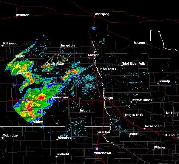 Radar Image for Severe Thunderstorms near Larimore, ND at 7/25/2020 9:19 PM CDT