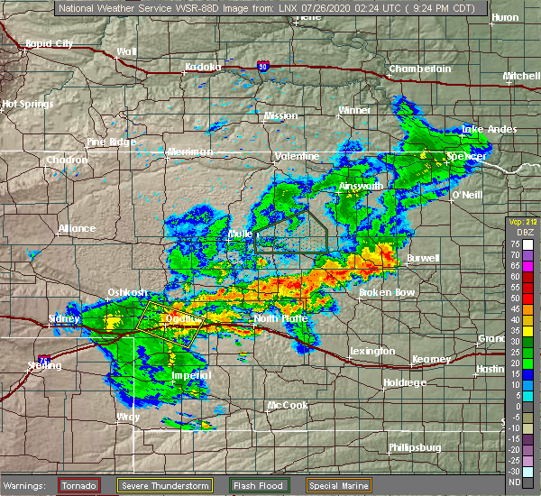 Radar Image for Severe Thunderstorms near Sarben, NE at 7/25/2020 8:27 PM MDT
