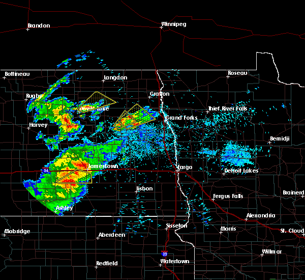 Radar Image for Severe Thunderstorms near Larimore, ND at 7/25/2020 9:39 PM CDT