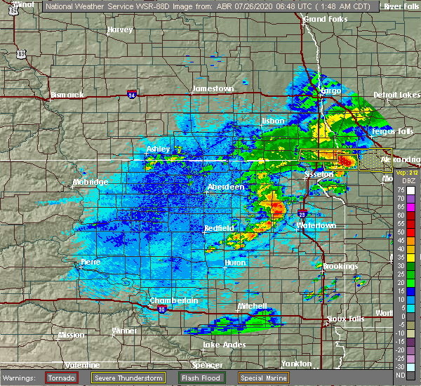 Radar Image for Severe Thunderstorms near Ortley, SD at 7/26/2020 1:51 AM CDT