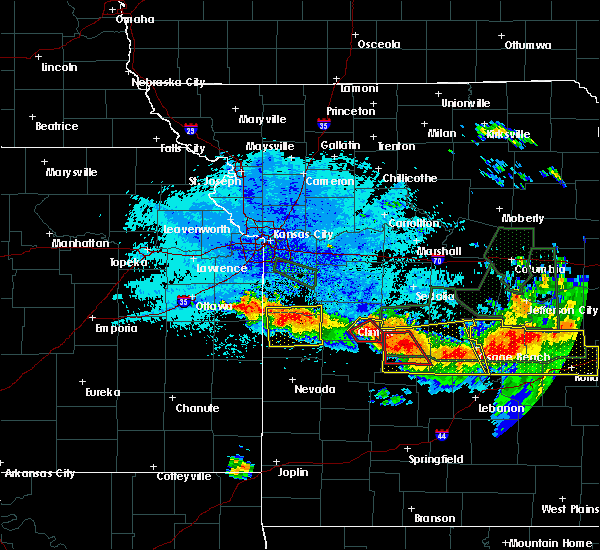 Radar Image for Severe Thunderstorms near Adrian, MO at 7/1/2015 10:34 PM CDT