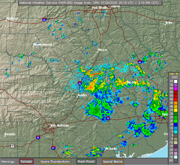 Radar Image for Severe Thunderstorms near Cedar Park, TX at 7/26/2020 3:21 PM CDT