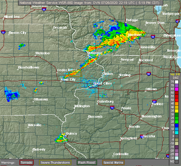 Radar Image for Severe Thunderstorms near Olin, IA at 7/26/2020 5:25 PM CDT
