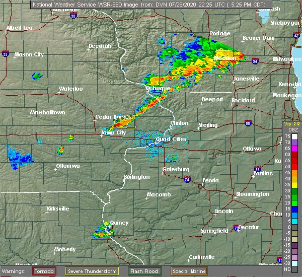 Radar Image for Severe Thunderstorms near Olin, IA at 7/26/2020 5:35 PM CDT
