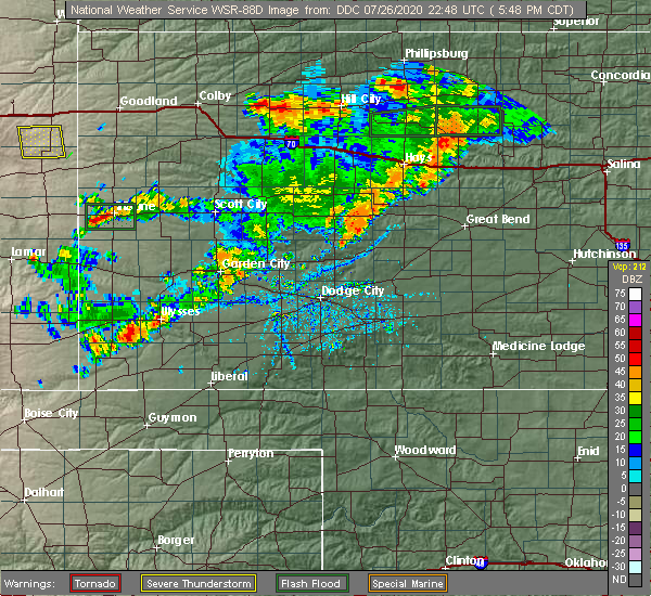 Radar Image for Severe Thunderstorms near Ulysses, KS at 7/26/2020 5:52 PM CDT