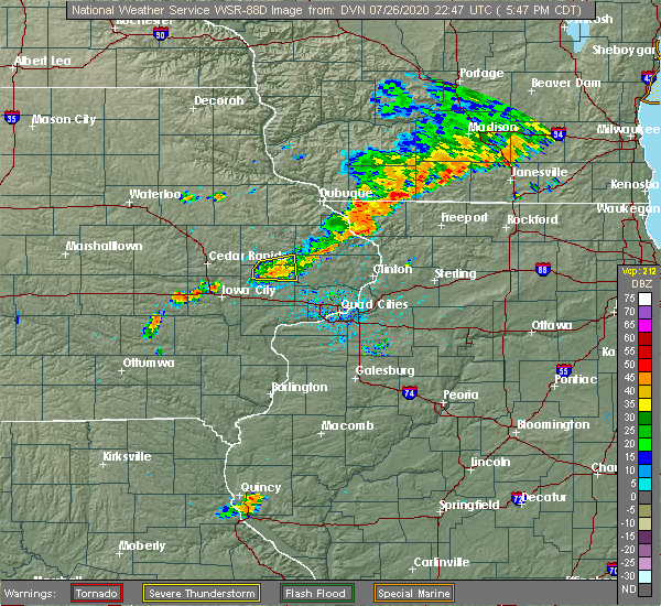 Radar Image for Severe Thunderstorms near Olin, IA at 7/26/2020 5:55 PM CDT
