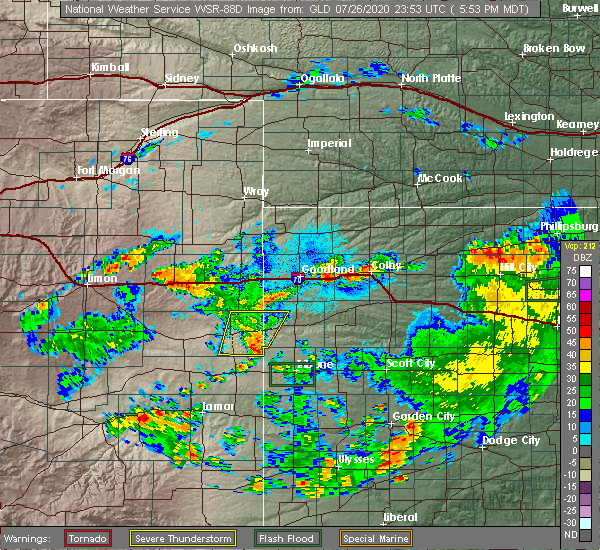 Radar Image for Severe Thunderstorms near Cheyenne Wells, CO at 7/26/2020 5:57 PM MDT