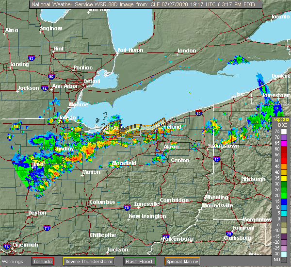 Radar Image for Severe Thunderstorms near Westlake, OH at 7/27/2020 3:24 PM EDT