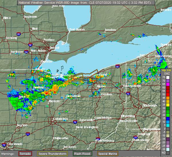 Radar Image for Severe Thunderstorms near Avon, OH at 7/27/2020 3:37 PM EDT
