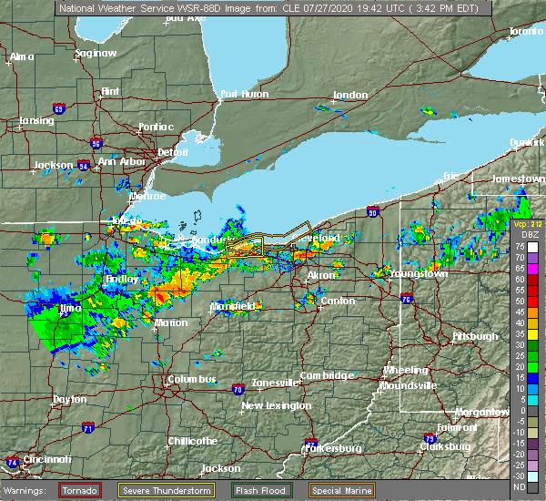 Radar Image for Severe Thunderstorms near Avon, OH at 7/27/2020 3:48 PM EDT