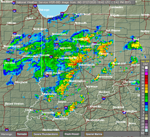 Radar Image for Severe Thunderstorms near Indianapolis, IN at 7/27/2020 3:57 PM EDT