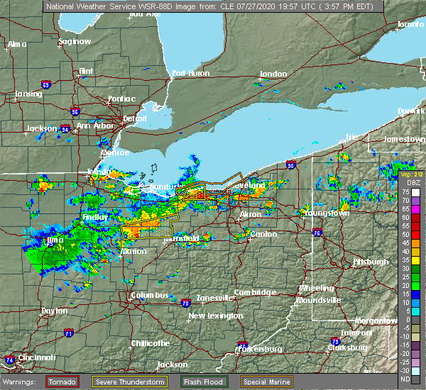 Radar Image for Severe Thunderstorms near Westlake, OH at 7/27/2020 3:58 PM EDT