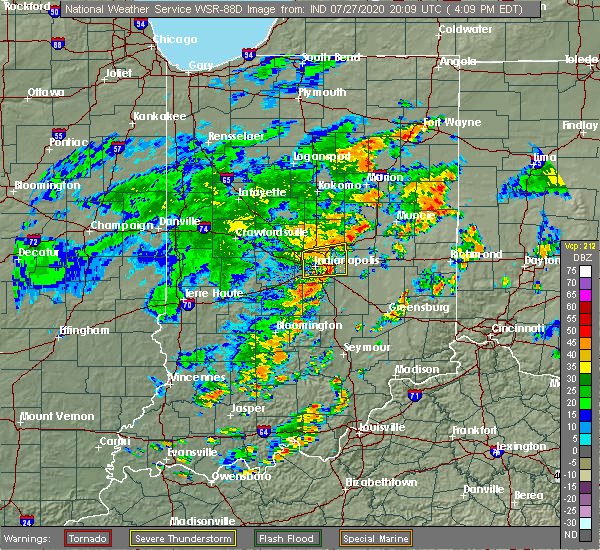 Radar Image for Severe Thunderstorms near Indianapolis, IN at 7/27/2020 4:16 PM EDT