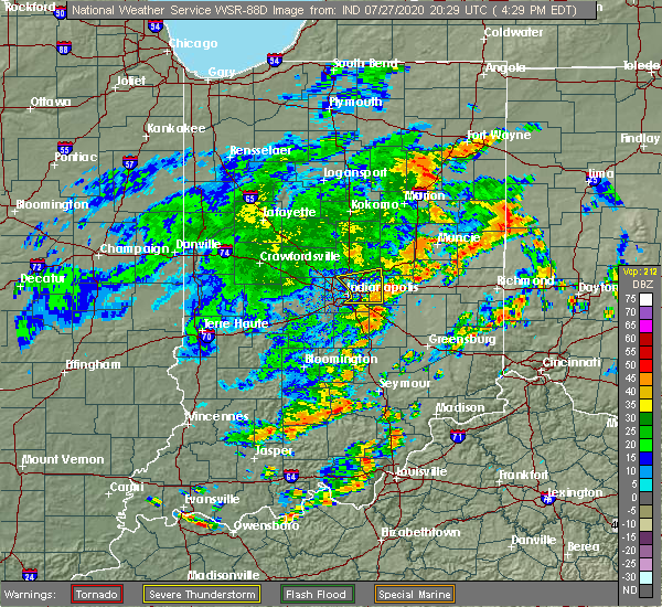 Radar Image for Severe Thunderstorms near Shelbyville, IN at 7/27/2020 4:34 PM EDT
