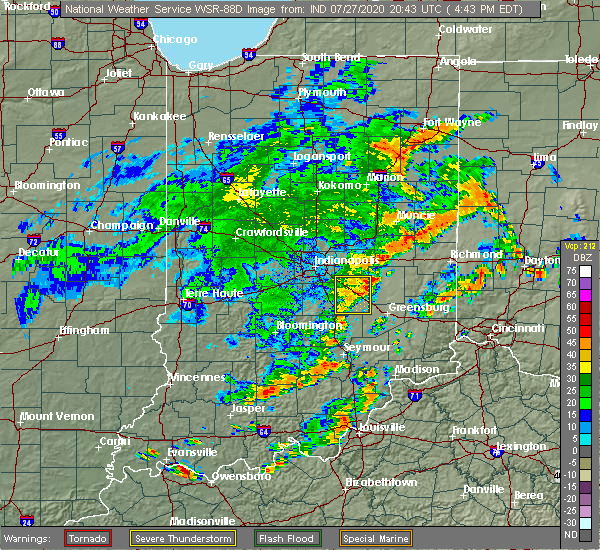 Radar Image for Severe Thunderstorms near Lake Santee, IN at 7/27/2020 4:51 PM EDT