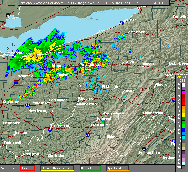 Radar Image for Severe Thunderstorms near West Middlesex, PA at 7/27/2020 5:36 PM EDT