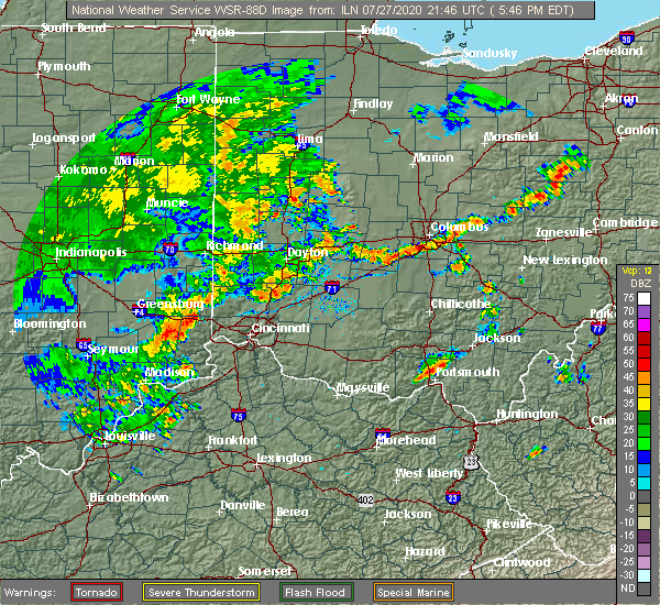 Radar Image for Severe Thunderstorms near Pickerington, OH at 7/27/2020 5:54 PM EDT