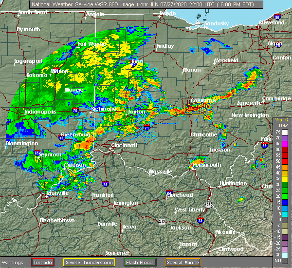 Radar Image for Severe Thunderstorms near Pickerington, OH at 7/27/2020 6:07 PM EDT
