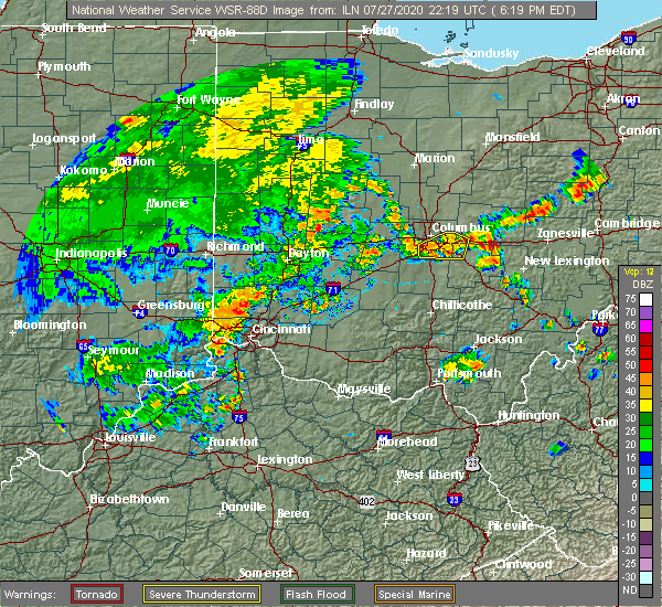 Radar Image for Severe Thunderstorms near Pickerington, OH at 7/27/2020 6:33 PM EDT