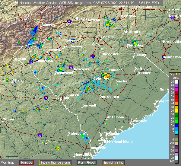 Radar Image for Severe Thunderstorms near Lugoff, SC at 7/27/2020 7:00 PM EDT