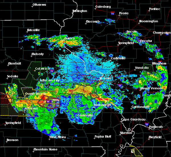 Radar Image for Severe Thunderstorms near Waynesville, MO at 7/1/2015 10:58 PM CDT