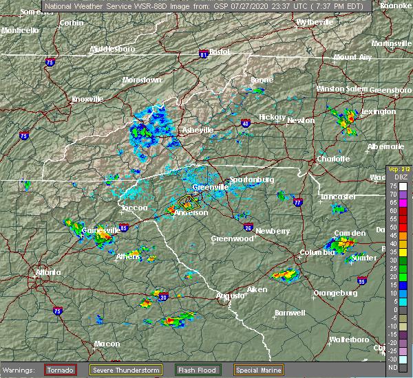 Radar Image for Severe Thunderstorms near Golden Grove, SC at 7/27/2020 7:45 PM EDT