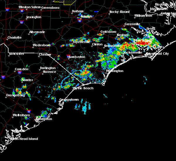 Radar Image for Severe Thunderstorms near Lake Waccamaw, NC at 7/28/2020 4:07 PM EDT