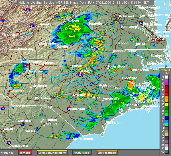Radar Image for Severe Thunderstorms near Keener, NC at 7/28/2020 5:20 PM EDT