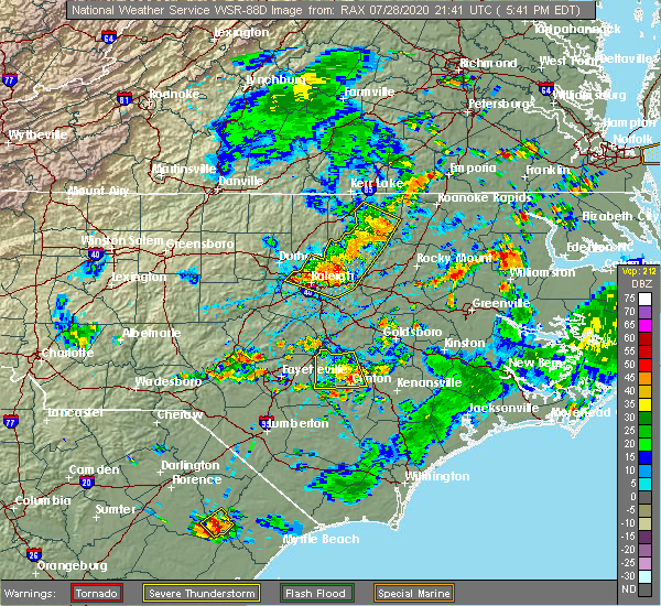 Radar Image for Severe Thunderstorms near Youngsville, NC at 7/28/2020 5:52 PM EDT