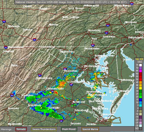 Radar Image for Severe Thunderstorms near Fredericksburg, VA at 7/28/2020 6:13 PM EDT