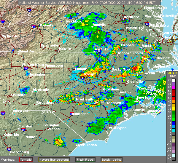 Radar Image for Severe Thunderstorms near Clinton, NC at 7/28/2020 6:14 PM EDT