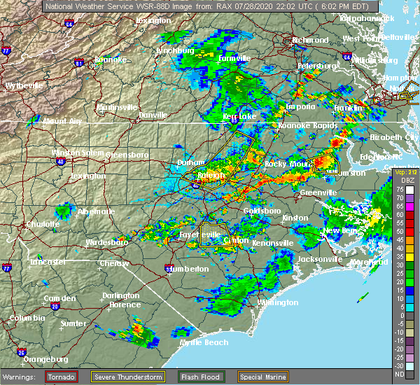 Radar Image for Severe Thunderstorms near Cary, NC at 7/28/2020 6:19 PM EDT