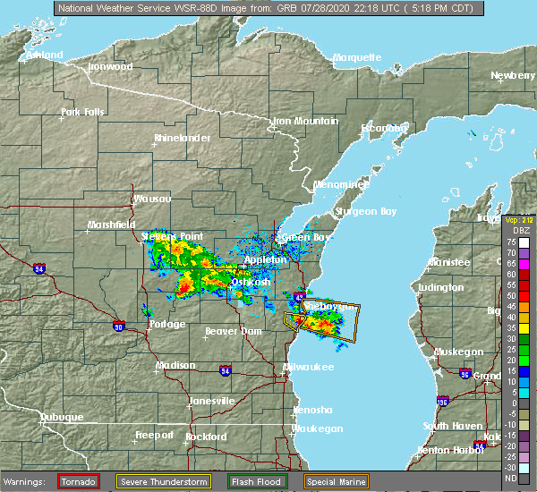 Radar Image for Severe Thunderstorms near Van Dyne, WI at 7/28/2020 5:27 PM CDT