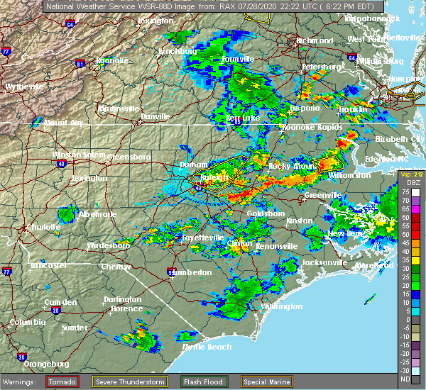 Radar Image for Severe Thunderstorms near Cary, NC at 7/28/2020 6:29 PM EDT