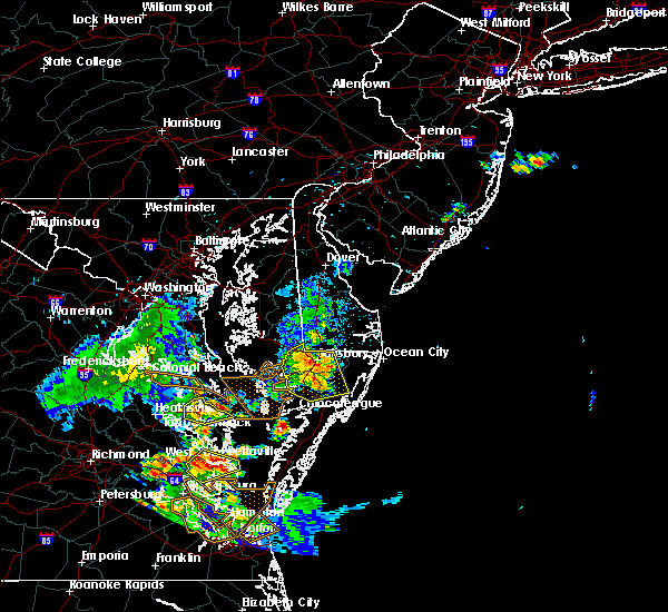 Radar Image for Severe Thunderstorms near Pittsville, MD at 7/28/2020 8:37 PM EDT