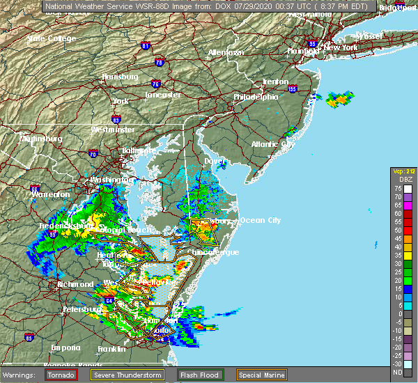 Radar Image for Severe Thunderstorms near Pittsville, MD at 7/28/2020 8:41 PM EDT