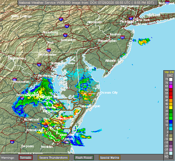 Radar Image for Severe Thunderstorms near Pittsville, MD at 7/28/2020 8:58 PM EDT