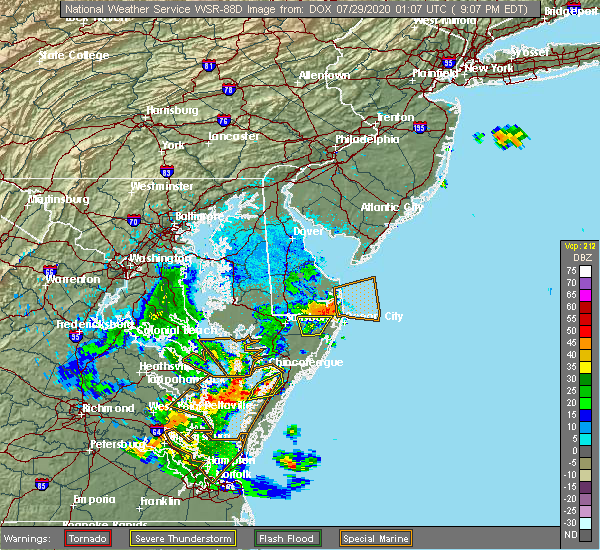 Radar Image for Severe Thunderstorms near Pittsville, MD at 7/28/2020 9:12 PM EDT