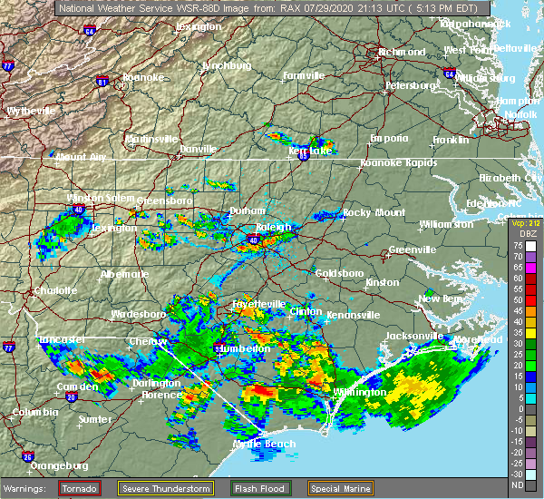 Radar Image for Severe Thunderstorms near Garner, NC at 7/29/2020 5:20 PM EDT